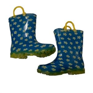 Lilly Of Ny Blue Rain Boots with White Daisies SZ9